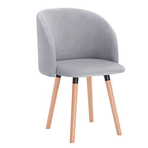 WOLTU Esszimmerstühle BH121gr-1 1x Küchenstuhl Wohnzimmerstuhl Polsterstuhl Design Stuhl mit Armlehne, Sitzfläche aus Samt, Gestell aus Massivholz, Grau