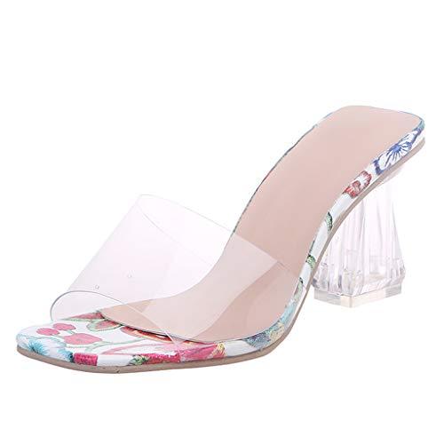 MOTOCO Damen Mode Blumendruck Sandalen Sommer Open-Toe Schuhe Casual High-Heels Zehentrenner Slipper(Rot,37 EU)