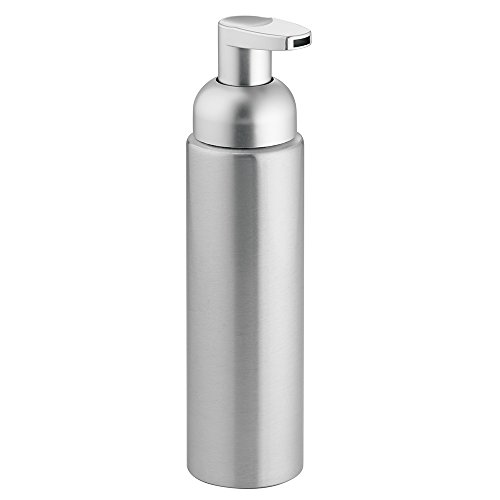 iDesign Metro Schaumseifenspender, kleiner Seifenspender aus Aluminium und Kunststoff, silberfarben