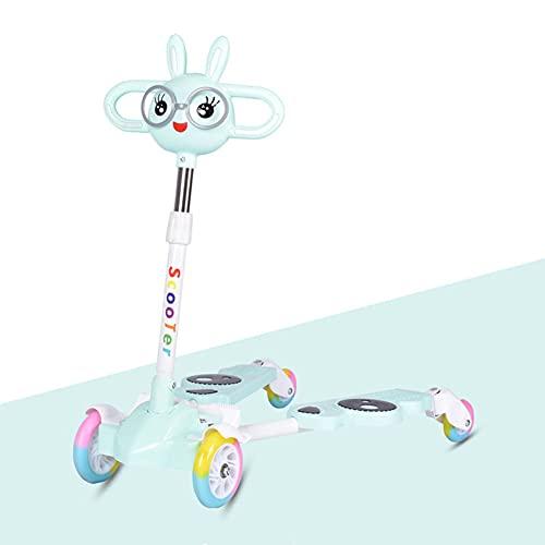 XCVMKH Patinete Plegable Frog para niños Apto para niños, niñas y niños de 3 a 14 años. 3 Tipos de Altura Ajustable. Límite de Dos Scooters de Pedal 60 ° hacia adelante