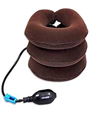 DAYONG Cervical Neck Traction,Air Neck Therapy, Adjustable Neck Stretcher Collar Device, Cervical Collar for Neck Support and Decompression, Home Office Use,(brown)