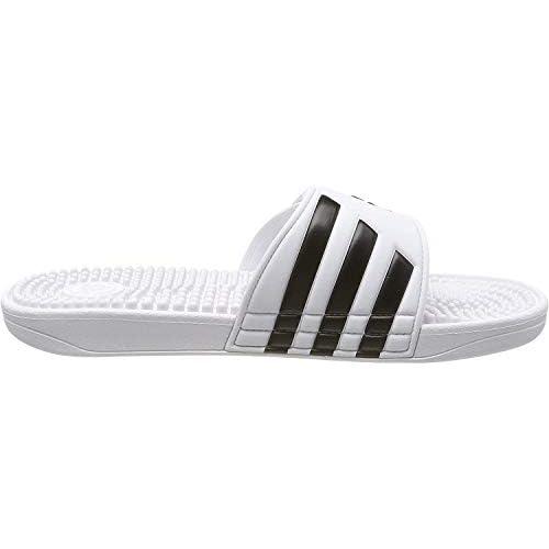 Adidas Adissage Ciabatte Unisex – Adulto, Bianco (Bianco/Nero/Bianco), 44.5 EU
