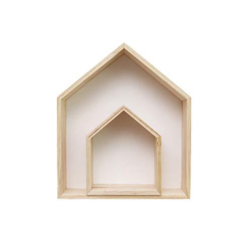 TIREOW 2Pcs Hölzern Haus Regal Anzeige Zuhause Hängendes Gestell Bücherregalfür Wohnzimmer Schlafzimmer Kinderzimmer Kaffeestube Dekoration (Weiß)