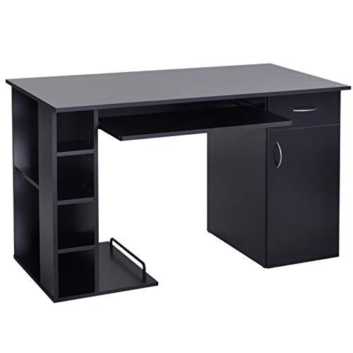 Mesa de PC Mesa de Ordenador Escritorio de Oficina Mesa con Almacenamiento mobiliario de despacho y oficina 120x60x74cm Negro
