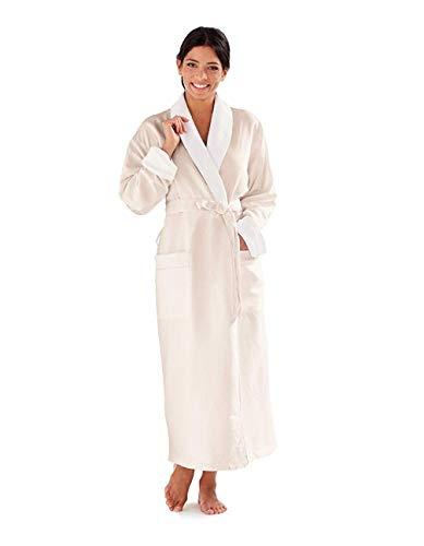 Boca Terry Women's Robe, Luxury Microfiber Bathrobe, Long Hotel Spa Robes for Women, Large, Eggshell