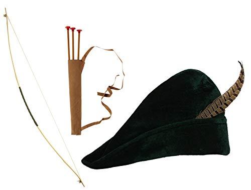 WIDMANN Set Bogenschütze 100 cm & Grüner Hut Robin Hood