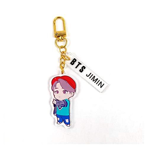 Qsdxlsd Keychain Hot BTS-fans Keychains Key ring Cartoon figure J-HOPE JUNG KOOK SUGA V RM JIMIN JIN Fashion Jewelry Gift for fans decoration (Color : 6 JIMIN)