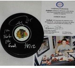 Andrew Shaw Chicago Blackhawks Autographed Signed Hockey Puck UNIQUE 1st Goal 1st Shot
