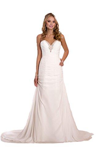 Elegantes Brautkleid Traum Hochzeitskleid A-Linie Gr. 34 bis 46 Braut Kleid Perlen (40, Ivory)