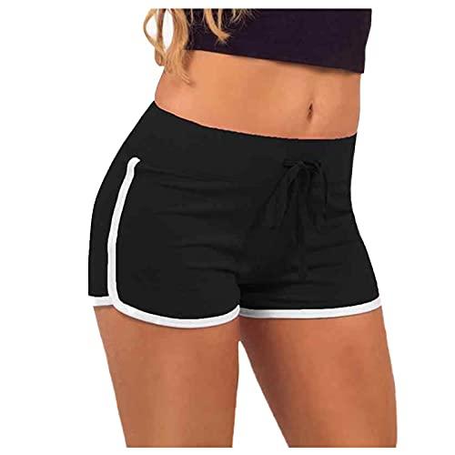 Pantalones cortos de deporte para mujer, para verano, pantalones de deporte, elásticos, ligeros, para correr, para el tiempo libre, fitness, Negro , XL