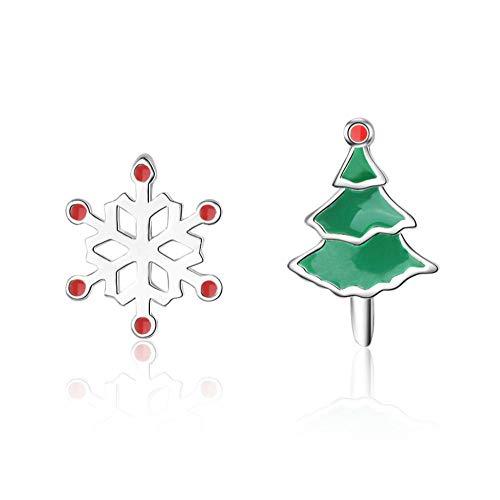 Vvff Pendientes De Botón De Resina De Copo De Nieve De Árbol De Navidad Plateado Para Mujer, Regalo Para Mujer