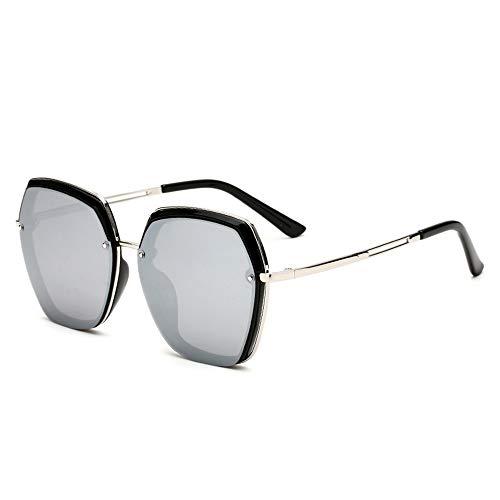 Gafas de sol polarizadas antiultravioleta, elegantes lentes poligonales clásicos grandes, negro, plateado, rosa (color: plata)