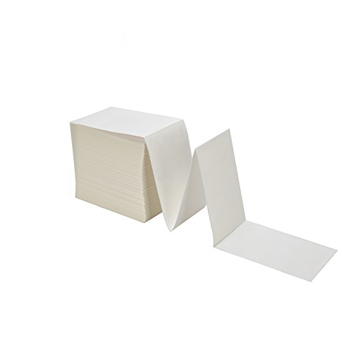 "MFLABEL Fanfold 4"" x 6"" Direct Thermal Labels White Perforated Shipping Labels,4 Stacks,Total 4000 Labels"
