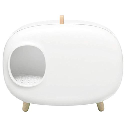 Hyjgjzjh Caja semicerrada grande antisalpicaduras y desodorante desodorante para gatos Makesure Mochi Cat arena 60,4 × 45,7 × 38,5 cm (color: blanco)