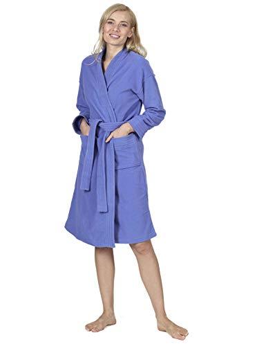 RAIKOU Damen Bademantel Herren Bademantel Micro-Fleece Kurz Morgenmantel Saunamantel mit Gürtel super flauschig und weich Unisex Hausmantel, S-XXL (Royal Blau-L)