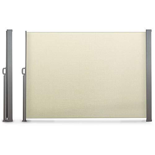 Paravent extérieur rétractable 160 x 300 cm toile écrue