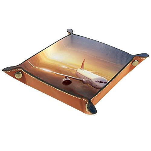 Caja de almacenamiento pequeña, bandeja de valet para hombre,nube de avión,Organizador de cuero para llaves de caja de monedas