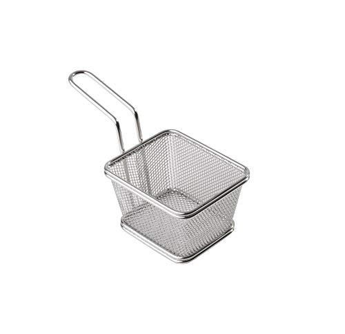 APS Servier-Edelstahl-Frittierkorb, Miniatur Fritterkorb für Pommes, Zwiebelringe etc, Snack-Korb, aus Edelstahl, 10 x 8,5 cm, H: 6,5 cm, Griff 9 cm