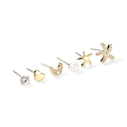 LDH Mini Earring Set Combination Temperament Simple and Small 925 Sterling Silver Starfish 6 Piece Set Cubic Zirconia Stud Earrings Set Free to Match