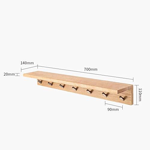 Drijvende Planken,Houten Decoratief,Picture Ledge Display Rack,Boek Hangende Plank,Verschillende Maten Plank Set,Bevestigingen Inclusief Metalen Beugels,Perzik Houten Plank-Log-7 Haak