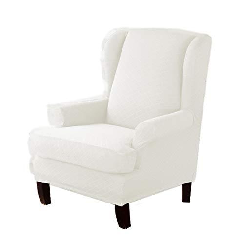 YUENA CARE 2 Stück Ohrensessel Schonbezüge Elastisch Ohrenbackensessel Sesselbezug Wear Resistant Armchair Cover Möbelschutz Weiß