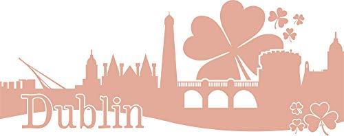 GRAZDesign wandtattoo Skyline Dublin - Walltattoo woonkamer hal kantoor Ierland 127x50cm 958 Baby Doll