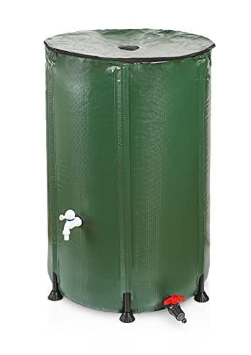 Bidón de lluvia plegable de 500 l, 500 l, para el jardín, depósito de agua de 500 l, incluye filtro y adaptador rápido de manguera, barril de lluvia estrecho alto, PVC resistente a los rayos UV