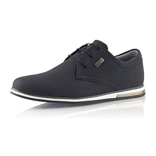 Fusskleidung® Herren Business Schuhe Casual Sneaker leichte Turnschuhe Dunkelblau EU 40