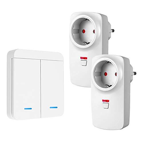 TSSS 433 MHz RF Funksteckdosen Funkschalter Set 2 Unterputzdose Wandsteckdose mit 1 Fernbedienungen 2-Wege Wandsender Ferngesteuert Licht Haushaltsgerät Außen 40m Drinnen 20m - Max 300W oder 1500W