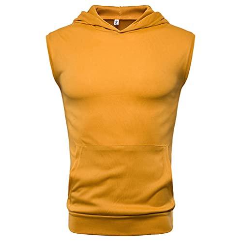 Camiseta Sin Mangas para Hombre Deporte Fitness Correr Hombres Sudadera con Capucha Top Verano Clásico Básico Color Sólido Casual Transpirable Camisa Deportiva Hombre C-Yellow 3XL