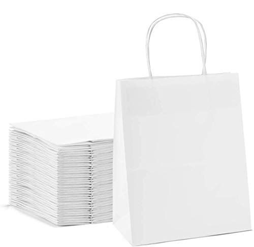 Switory Bolsa de papel Kraft de 50 piezas con asas, bolsa de regalo de compras blanca de 20x12x26,5cm con asas retorcidas para fiesta, embalaje, personalización, transporte, venta al por menor
