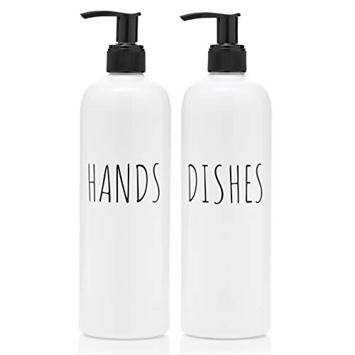 Soap Dispenser Bottles Farmhouse Decor Hands and Dishes 16 oz Plastic with Pump | Kitchen Sink, Bathroom| Rust Free and Shatter Proof | 2 Piece Reusable for Hand and Dish Liquid Soap