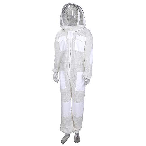 ENJOHOS Disfraz de abeja anti-avispa en algodón transpirable, diseño unisex con bolsillo grande, banda elástica, parche de velcro, sombrero desmontable para apicultores contra picaduras de abejas
