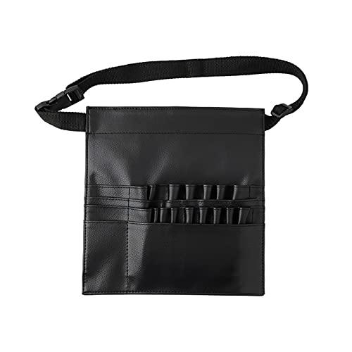 Sac de rangement Organisateur de brosse cosmétique Multi-fonction Noir PU Sac de taille cosmétique sac de maquillage sac de brosse avec ceinture pour le maquillage professionnel artistique artistique
