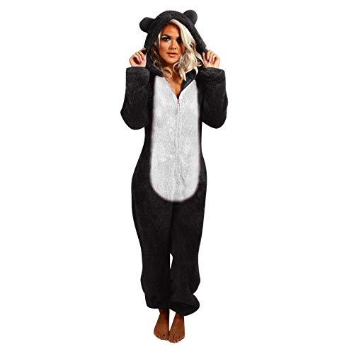 Briskorry Pijama de animal para mujer para adultos, de felpa, mono acogedor y cálido, mono, mono para mujer, mono de una pieza, pijama para mujer, disfraz de carnaval, Negro 19., XXXXL