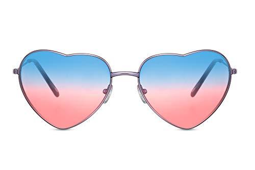 Cheapass Sonnenbrille herzförmiger Rahmen lile Metall Rahmen mit Blau/Rot durchscheinendeb Linsen UV400 geschützt Frauen