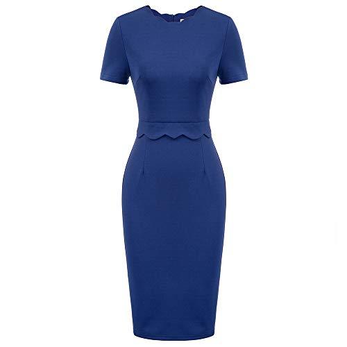 GRACE KARIN Damen Cocktailkleid Business Kleid Rundhals Kleid Etuikleid Knielang Kleid Elegant Kleid Dunkelblau CL011105-2_XL