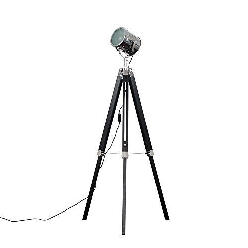 Modern Matt Black & Chrome Industrial Photography/Film Studio Style Adjustable Spotlight Tripod Floor Lamp