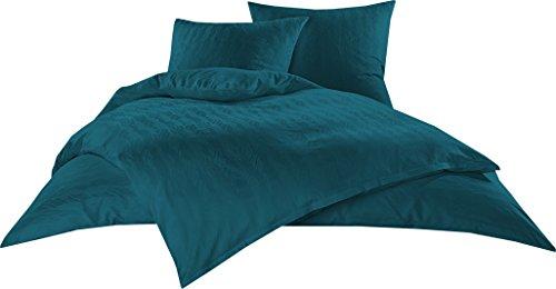 Bettwaesche-mit-Stil Mako Satin Damast Bettwäsche Garnitur Waves Petrol Blau (155 cm x 220 cm + 80 cm x 80 cm)