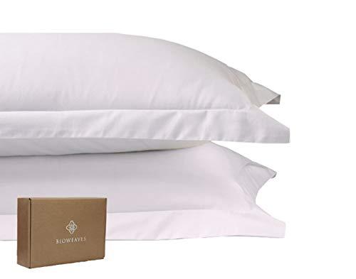BIOWEAVES 100% Organic Cotton Pillow Shams 300 Thread Count Soft Sateen Weave GOTS Certified – Standard/Queen Size, Set of 2, White
