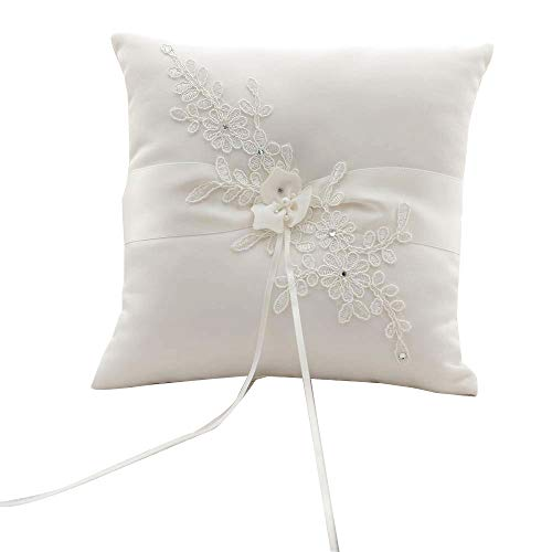 Awtlife Flower Wedding Ring Pillow Ivory Cushion Bearer for Beach Wedding 8.26 inch