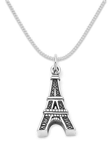 Sterling Silber Eiffelturm Anhänger auf 40cm Silber Kette. Größe: 20 mm x 15 mm – massiv Silber, Gewicht: 3 Gms. In Geschenkbox