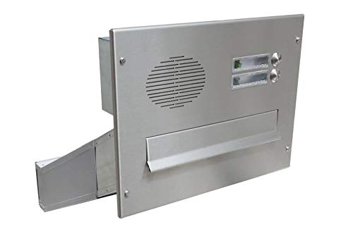 D-042 Edelstahl Mauerdurchwurf Briefkasten mit 2 Klingeln & Sprechsieb (Tiefe: 35-50 cm) - LETTERBOX24.de