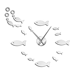 N /A Wall Clock Vintage Fish with Bubble DIY Giant Wall Clock Mirror Effect Wall Art Home Decor Aquarium Decoration Frameless Big Needle Clock Watch Suitable for Children's Room Living Room