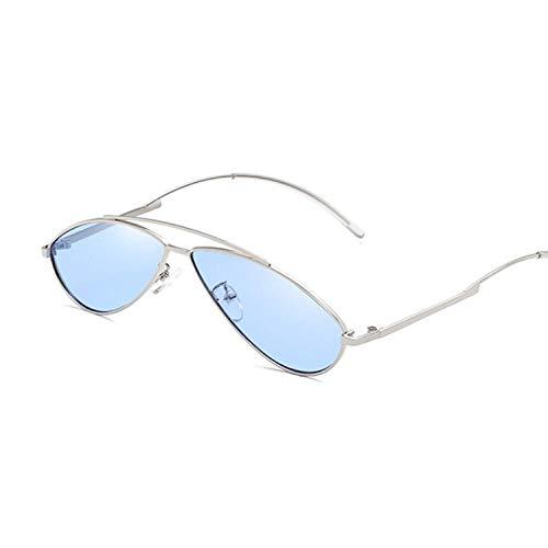 Gafas De Sol Lindas Gafas De Sol Sexis para Mujer, Montura Metálica A La Moda, Gafas De Sol Gradiente Vintage para Mujer, Sombras Uv400, Azul Plateado