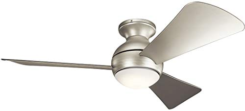 """Kichler 330151NI Sola 44"""" Outdoor Hugger Ceiling Fan with LED Light and Wall Control, Brushed Nickel"""