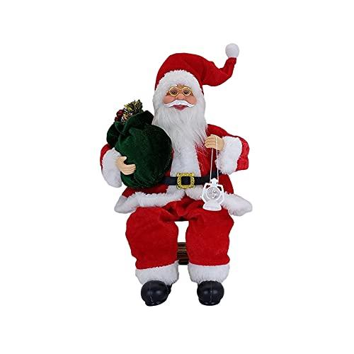 TAFRRYYG Weihnachtsmann-Figuren,Stoff Weihnachtspuppe,sitzende Weihnachtsmann-Puppe mit Weihnachtsbaum, für Fenstertisch Kamin Weihnachtsdeko (Scharlachrot)