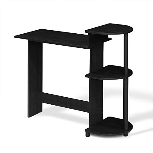 FURINNO Compact Computer Desk with Shelves, Round Side, Americano/Black