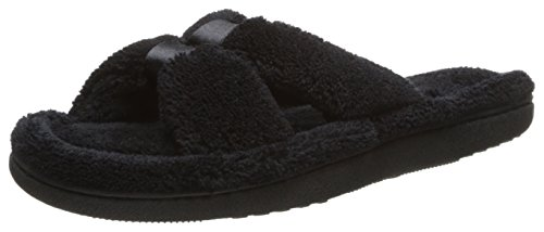 isotoner Women's Microterry Satin X-Slide, Black, 9.5-10