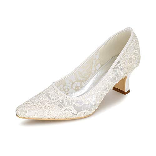 LGYKUMEG Zapatos de novia para mujer Punta cerrada Tacón de aguja Encaje Satén Bombas Zapatos de boda, Zapatos de vestir de boda Zapatos de boda cómodos,Marfil,US10.5/EU42/UK8.5